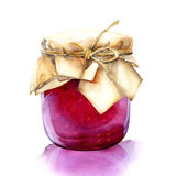 Akwarela słój z czerwonym jagoda dżemem Zdjęcia Stock
