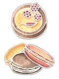 Akwarela słodcy desery: malinek macaroons i tort royalty ilustracja