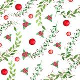 Akwarela sealess wzór Gałąź, liście, jagody ilustracja wektor