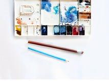 Akwarela setu narzędzia z muśnięciem, ołówek, gumka Obraz Stock