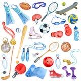 Akwarela sporta doodle set Obrazy Royalty Free