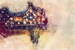 akwarela stylowy i abstrakcjonistyczny wizerunek piękna królowej, królewiątka korona/ fantazja średniowieczny okres ilustracji