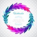 Akwarela szablon z wiankiem kolorowi liście Zdjęcie Royalty Free