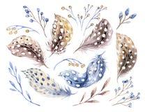 Akwarela szczęśliwy Easter ustawiający z kwiatami, piórkami i jajkami, Wiosna wakacje dekoracja Ręka rysujący Kwietnia boho proje ilustracji