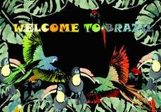 Akwarela sztandar tropikalny tło royalty ilustracja