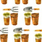 Akwarela uprawia ogródek bezszwowego wzór Zdjęcia Stock