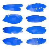 Akwarela ustawiająca błękitni sztandarów punkty Fotografia Stock
