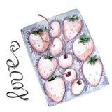 Akwarela ustawiająca jagody w pudełku dla walentynka dnia ilustracja wektor