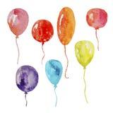 Akwarela ustawiająca kolorowi balony na przejrzystym tle royalty ilustracja