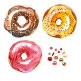 Akwarela ustawiająca różni słodcy donuts Odgórny widok Fotografia Stock