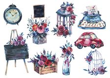 Akwarela ustawiająca ręka malująca butelka z czerwieni różą, podławy lant ilustracja wektor