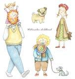 Akwarela ustawiająca z dziećmi, psami i ojcem, ilustracja wektor