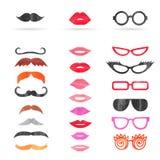 Akwarela wąsy, wargi i okulary przeciwsłoneczni ustawiający, royalty ilustracja