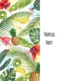 Akwarela wektorowego pionowo sztandaru tropikalni liście, owoc i kaktusy odizolowywający na białym tle, Zdjęcie Stock