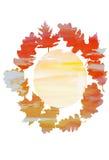 Akwarela wianek dąb i liście klonowi ilustracji