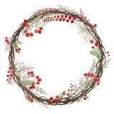 Akwarela wianek gałązki i czerwieni jagody ilustracja wektor