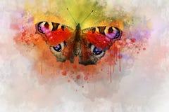 Akwarela wizerunek motyl na rocznika tle Motyli zako?czenie acrylic kolor?w papier ilustraci papier Zwierz?cy ?wiat insekty ilustracja wektor