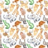 Akwarela wzór z ślicznymi kreskówek zwierzętami Afryka royalty ilustracja