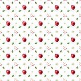 Akwarela wzór czerwoni jabłka, liście i okwitnięcia, ilustracja wektor