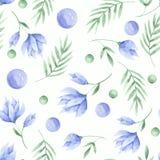 Akwarela wzór kwiaty, tulipany i liście menchii i błękita, ilustracji