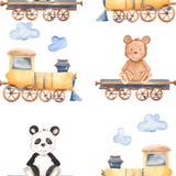 Akwarela wzór z kreskówka niedźwiedziami na pociągu ilustracja wektor
