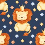Akwarela wzór z lwem i rhombuses ilustracja wektor