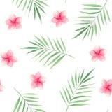 Akwarela wzór z tropikalnymi liśćmi i kwiatami ilustracji