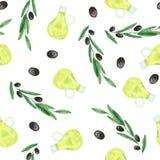 Akwarela wz?r z oliwkami, ga??zki oliwne, butelka oliwa z oliwek ilustracja wektor