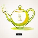 Akwarela zielony czajnik Zdjęcia Royalty Free