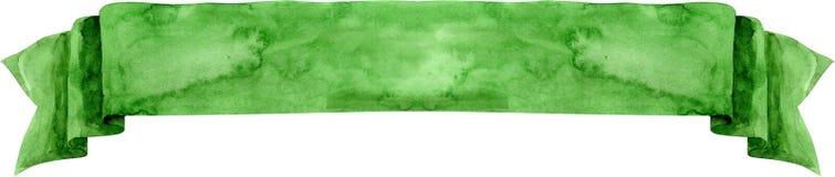 Akwarela zielony sztandar Fotografia Royalty Free
