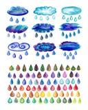 Akwarele malować dżdżyste krople i chmury royalty ilustracja