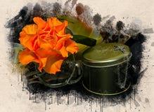 Akwarele malować piękne pomarańczowe róże zdjęcie stock