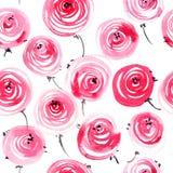 Akwarele malować róże Obrazy Royalty Free