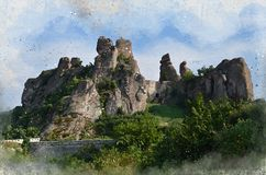 Akwarele malować unikalne skały, Belogradchik Kołysają, forteca, Bułgaria, obrazy stock