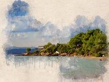 Akwarele malujący plaża, mały dom i drzewa, obrazy stock