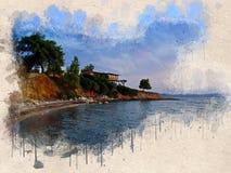 Akwarele malujący plaża, mały dom i drzewa, fotografia royalty free