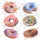 Akwarele malujący donuts Zdjęcia Royalty Free