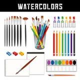 Akwarele, muśnięcia, farby, ołówki, papier, pola pudełko royalty ilustracja