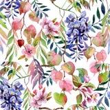 Akwareli żałości kwiat, Sakura okwitnięcie, gałąź, kolorowi liście bezszwowy kwiecisty wzoru royalty ilustracja