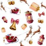 Akwareli Święty Mikołaj bezszwowy wzór Wręcza malującego Santa z prezentów pudełek przejażdżkami w saniu ciągnącym reniferem, lam royalty ilustracja