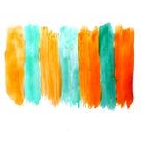 Akwareli żółtej zieleni kleksa ręka odizolowywająca Obrazy Royalty Free