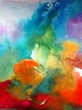 Akwareli abstrakcjonistyczny jaskrawy kolorowy textural tło handmade Obraz niebo i chmury podczas zmierzchu Nowożytny pozaziemski fotografia royalty free