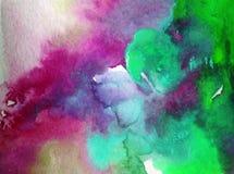 Akwareli abstrakcjonistyczny jaskrawy kolorowy textural tło handmade Obraz niebo i chmury podczas zmierzchu Nowożytny pozaziemski royalty ilustracja