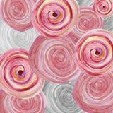 Akwareli abstrakcjonistyczny tło z menchiami i szarość ruszać się po spirali Obraz Stock
