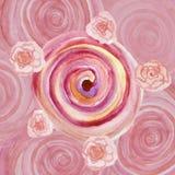 Akwareli abstrakcjonistyczny tło z spiral różami i zawijasami Zdjęcia Royalty Free