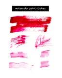 Akwareli akwareli farby ręki rysujący uderzenia, artystyczna kolorowa farba opuszczają na białym tle Ilustracji