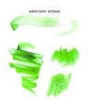 Akwareli akwareli ręki rysujący uderzenia, artystyczna kolorowa farba opuszczają na białym tle Ilustracji