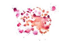 Akwareli aquarelle koloru kształta sztuki farby splatter ręka rysująca plama Obraz Royalty Free