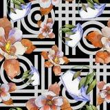 Akwareli aquilegia kolorowy kwiat Kwiecisty botaniczny kwiat Bezszwowy tło wzór ilustracji