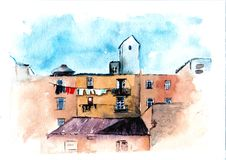 Akwareli architektury obraz, miastowy nakreślenie Horyzontalny rysunek Europejski miasto domowa ilustracja E royalty ilustracja